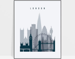London skyline poster grey blue