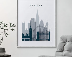 London skyline poster grey blue second