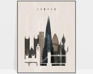 London skyline print distressed 2