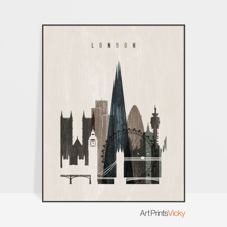 London skyline print distressed 2