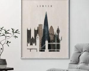 London skyline print distressed 2 second