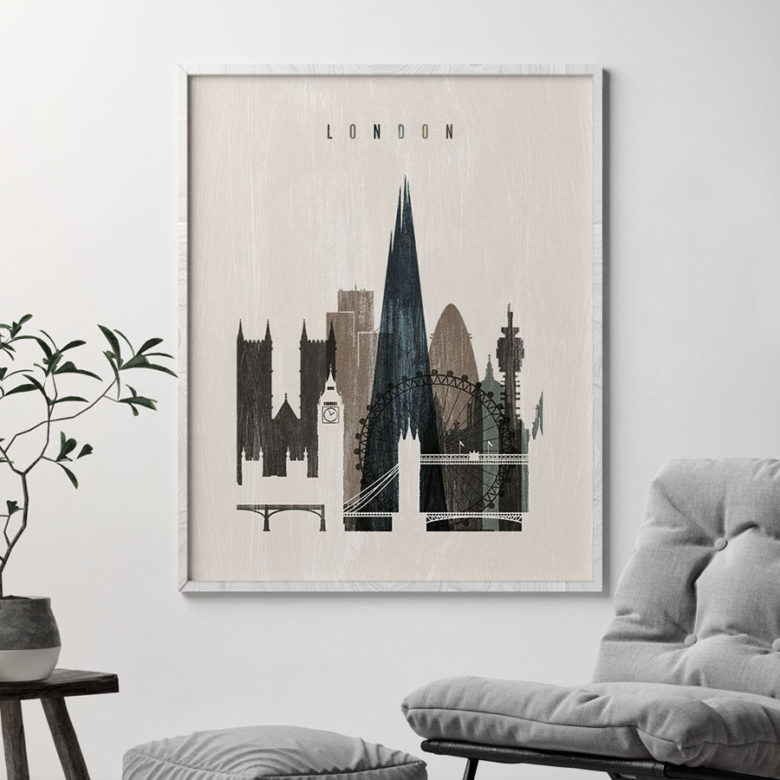 London skyline print distressed 2 second