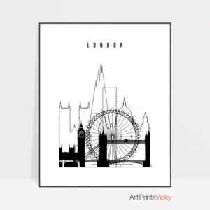 London poster black and white