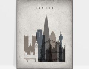 London skyline wall art retro