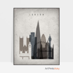 London skyline wall art retro