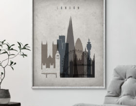 London skyline wall art retro second