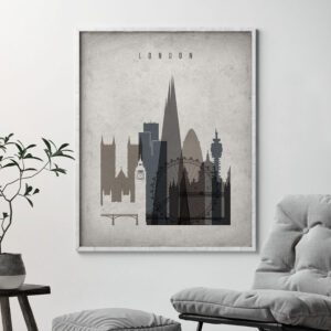 London skyline wall art retro second