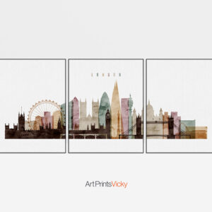 London Watercolor 3 Piece Wall Art Set