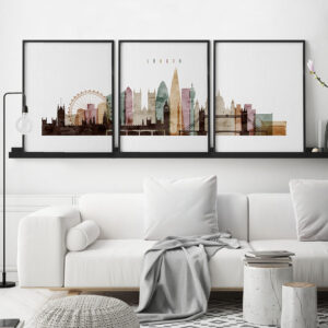London 3 piece wall art watercolor 1 second