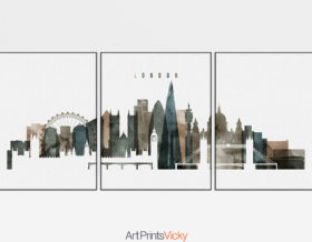 London cityscape of 3 piece poster watercolor 2