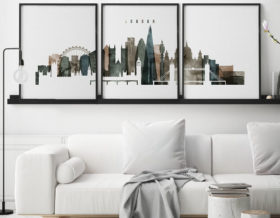 London cityscape of 3 piece poster watercolor 2 second