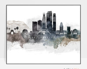 Los Angeles art poster watercolor
