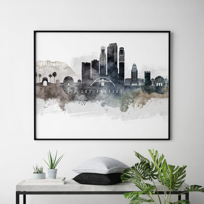 Los Angeles art poster watercolor second