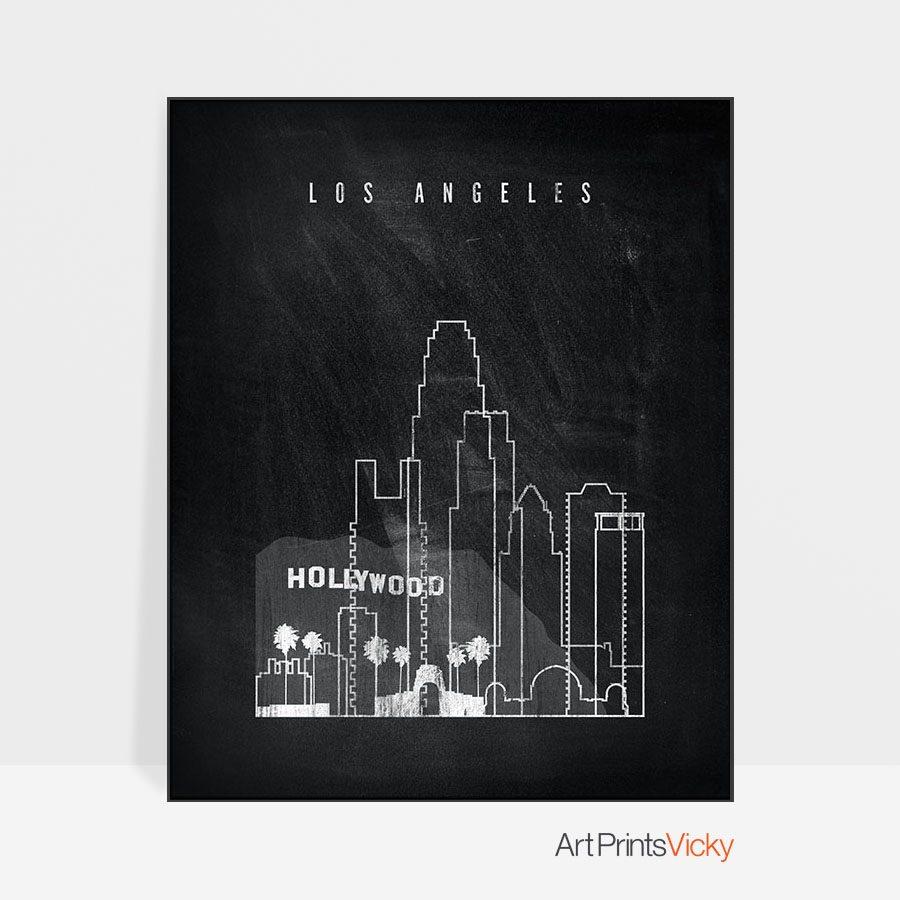 Los Angeles chalkboard black white skyline print