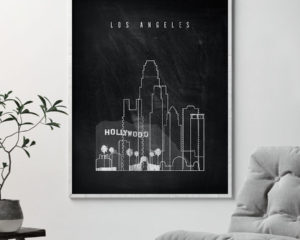 Los Angeles chalkboard black white skyline print second