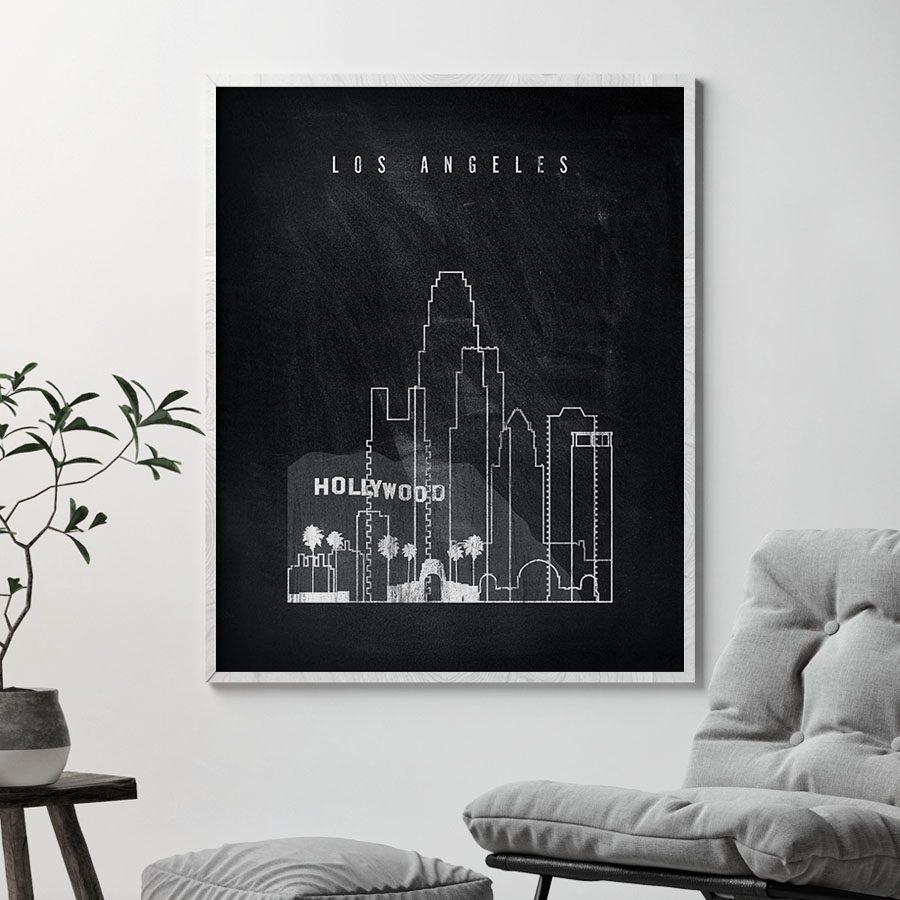 Los Angeles chalkboard black white skyline print second