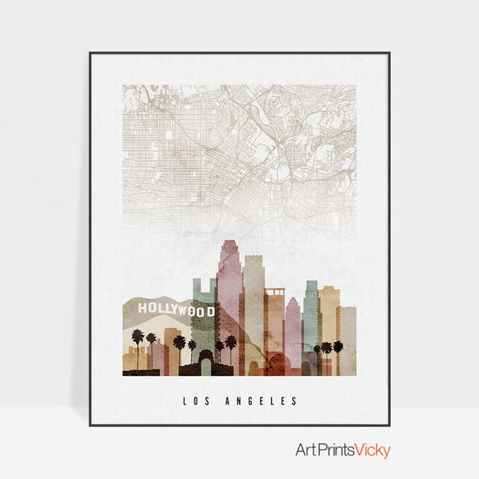Los Angeles Map Poster Watercolor 1