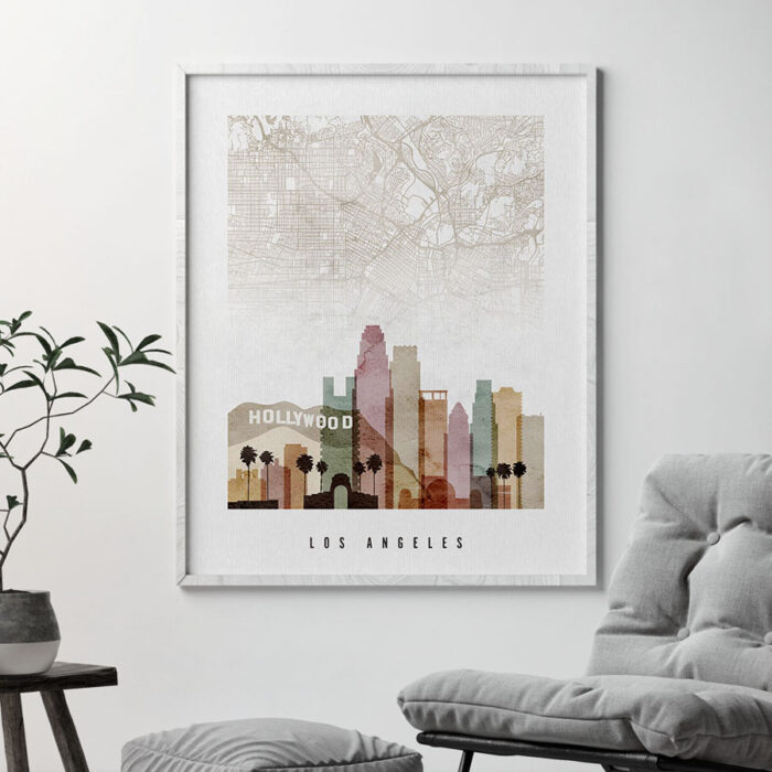 Los Angeles map skyline print watercolor 1 second
