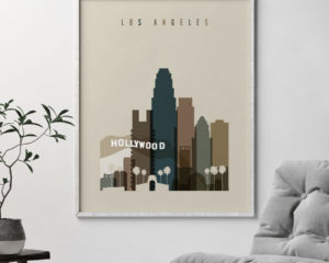 Los Angeles art print earth tones 3 second