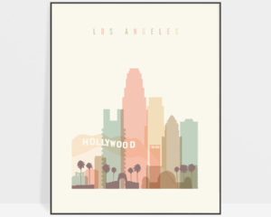 Los Angeles art print skyline pastel cream
