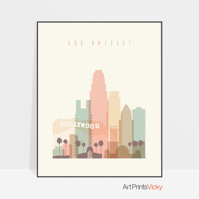 Los Angeles art print skyline pastel cream