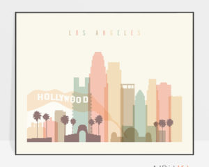 Los Angeles travel poster pastel cream landscape