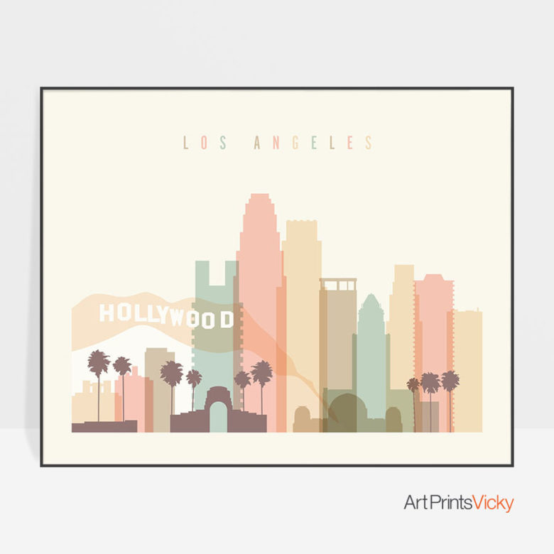 Los Angeles travel poster pastel cream landscape