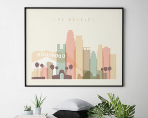 Los Angeles travel poster pastel cream landscape second