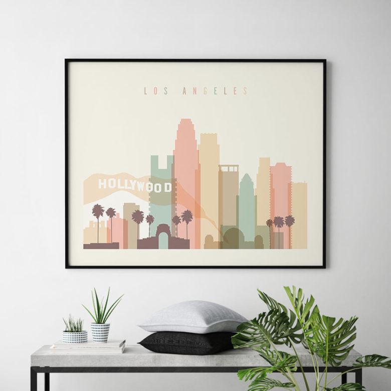 Los Angeles travel poster pastel cream landscape second