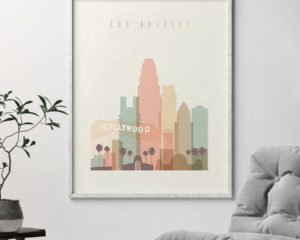 Los Angeles art print skyline pastel cream second