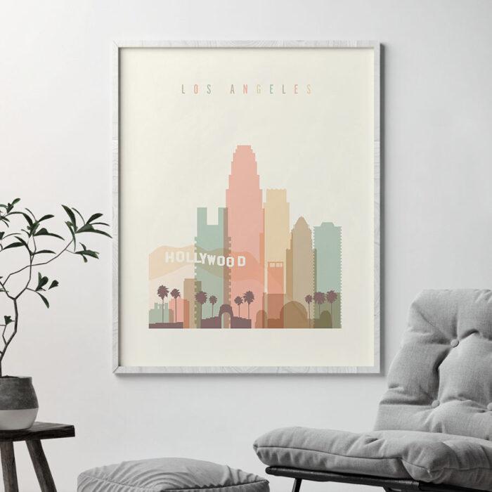 Los Angeles art print skyline pastel cream second
