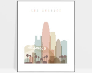 Los Angeles wall art pastel white