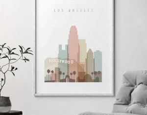 Los Angeles wall art pastel white