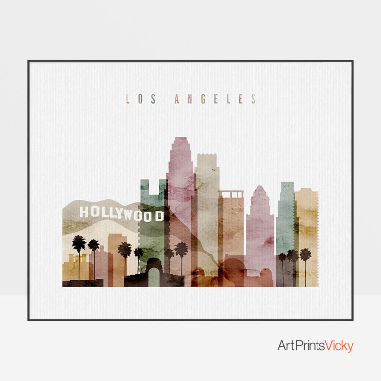 Los Angeles skyline poster watercolor 1 landscape