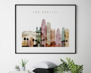 Los Angeles skyline poster watercolor 1 landscape second