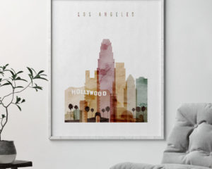 Los Angeles art print watercolor 1 second