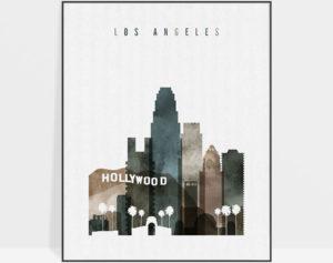 Los Angeles skyline poster watercolor 2