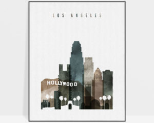 Los Angeles skyline poster watercolor 2