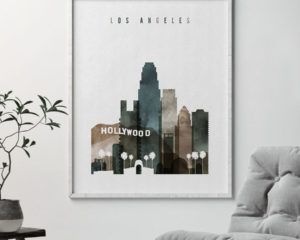 Los Angeles skyline poster watercolor 2 second
