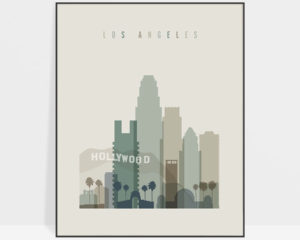 Los Angeles print skyline earth tones 1