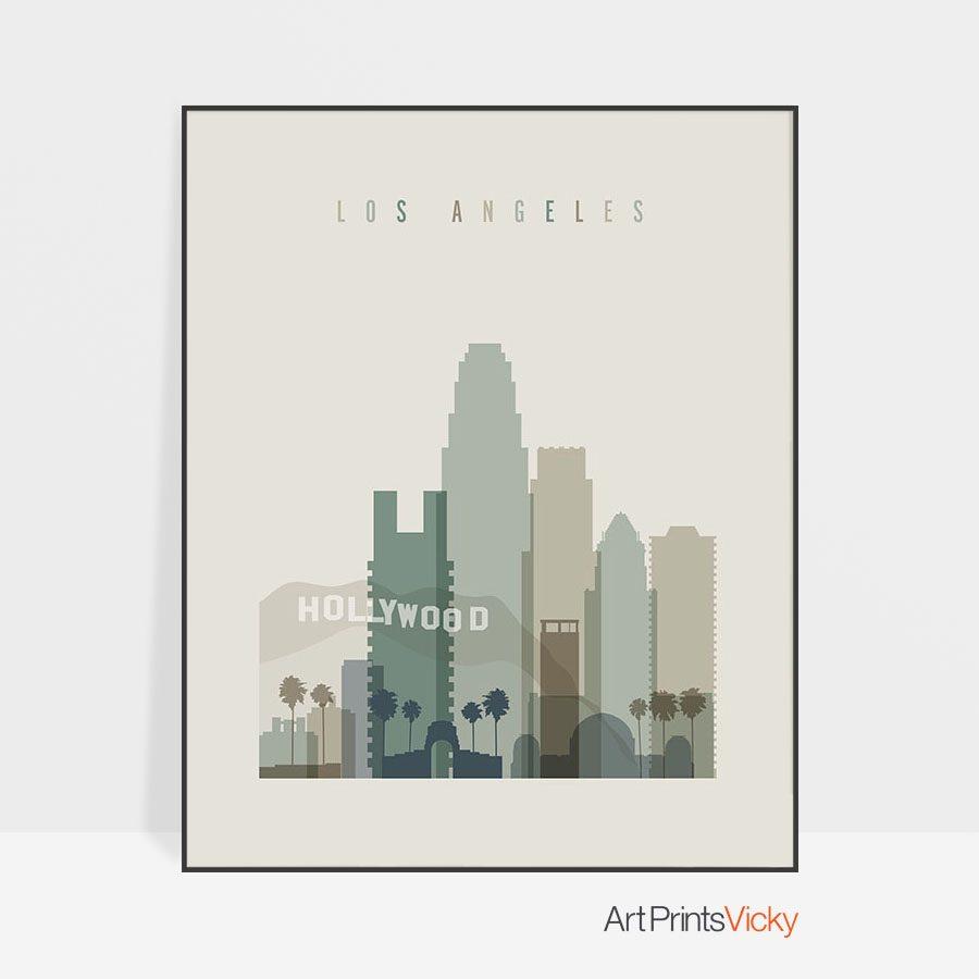 Los Angeles print skyline earth tones 1