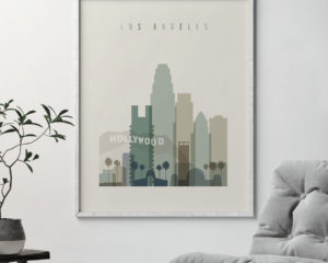 Los Angeles print skyline earth tones 1 second