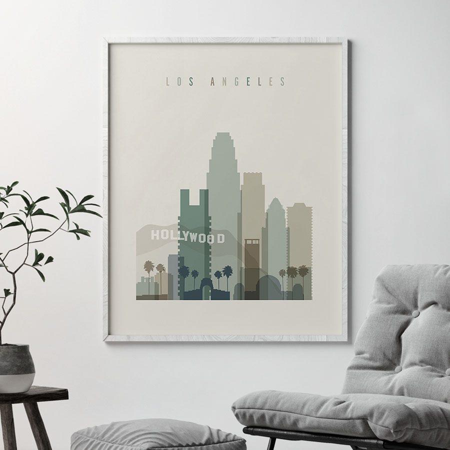 Los Angeles print skyline earth tones 1 second