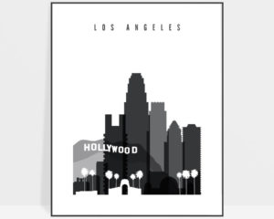 Los Angeles skyline black and white art