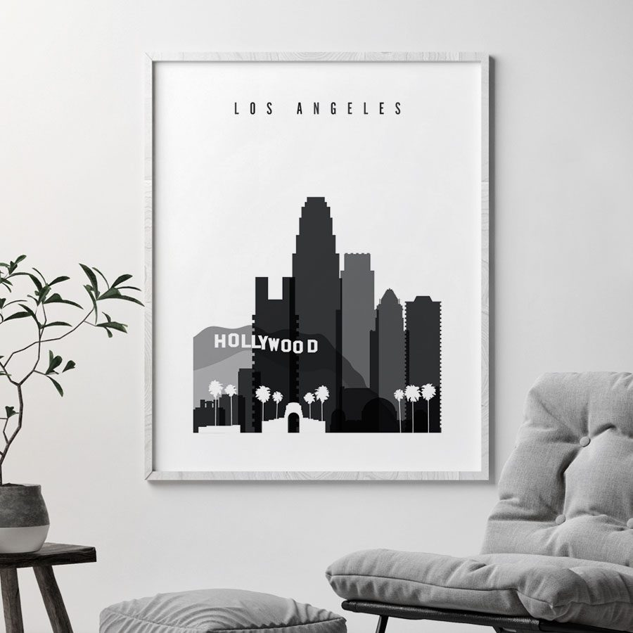 Los Angeles skyline black and white art second