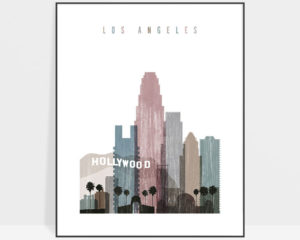 Los Angeles skyline poster distressed 1