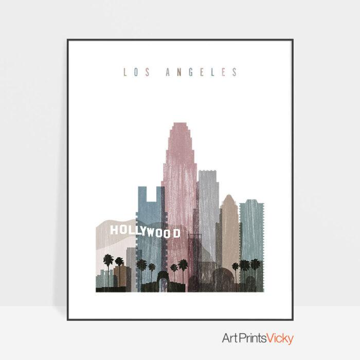 Los Angeles skyline poster distressed 1