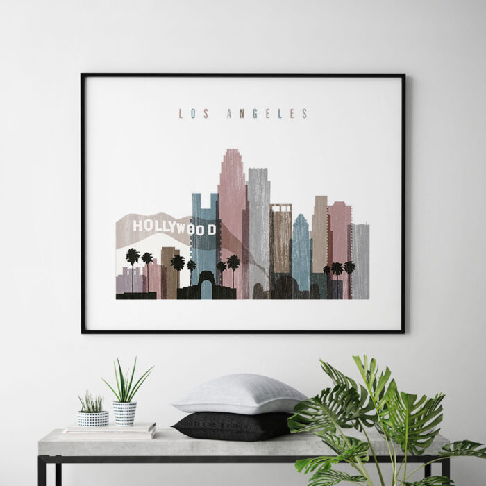 Los Angeles print landscape distressed 1 second