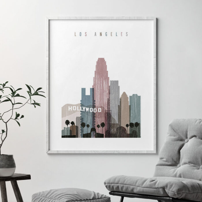 Los Angeles skyline poster distressed 1 second