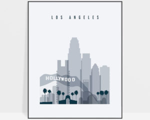 Los Angeles skyline poster grey blue